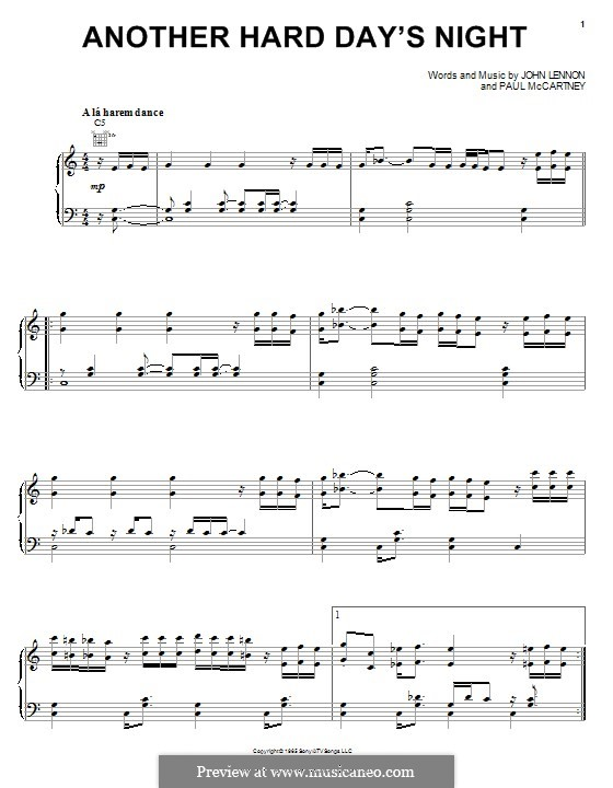 Another Hard Day's Night (The Beatles): For voice and piano (or guitar) by John Lennon, Paul McCartney