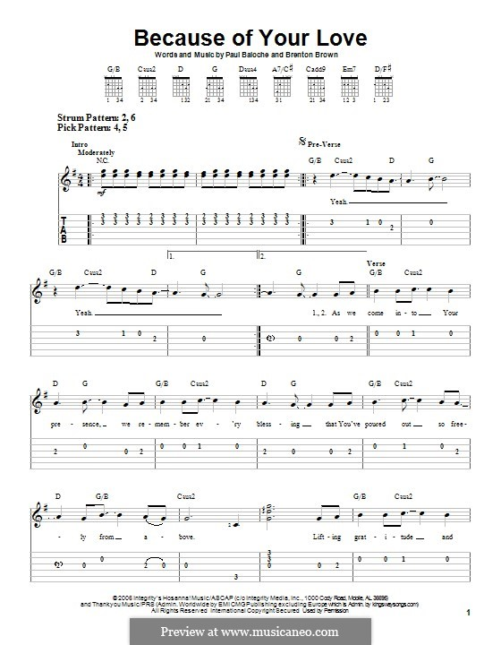 Because of Your Love: For guitar with tab by Paul Baloche, Brenton Brown
