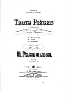Three Pieces for Piano, Op.22: Three Pieces for Piano by Henryk Pachulski