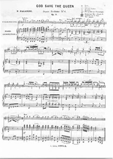 God Save the Queen for Violin and Piano, Op.9: Score by Niccolò Paganini