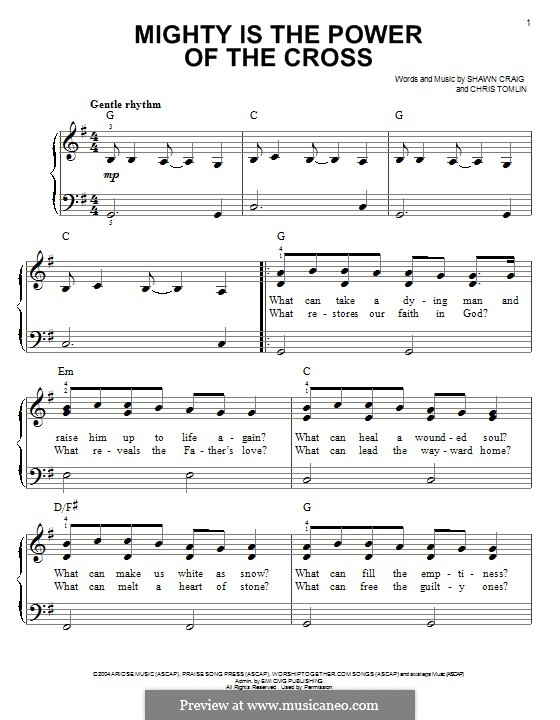 Mighty is the Power of the Cross: For piano by Chris Tomlin, Shawn Craig