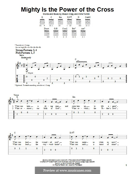 Mighty is the Power of the Cross: For guitar with tab by Chris Tomlin, Shawn Craig