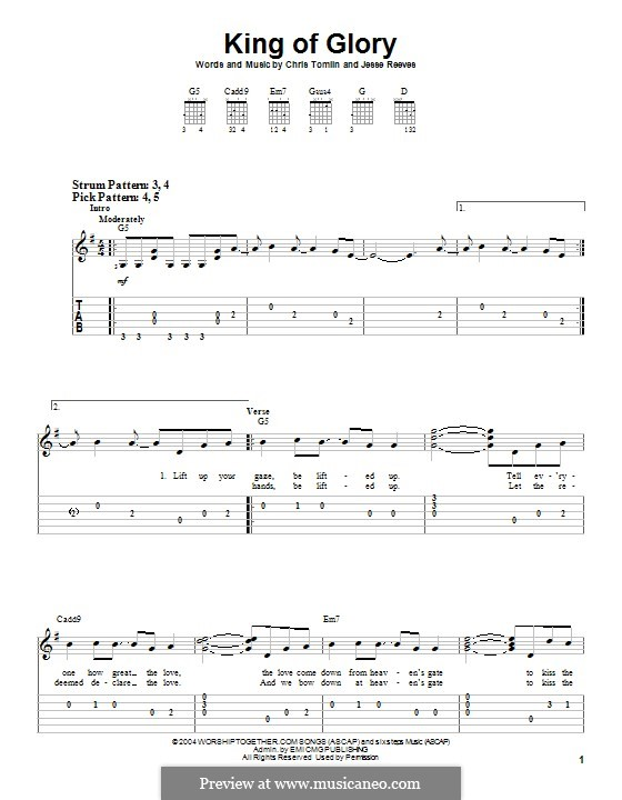 King of Glory: For guitar with tab by Chris Tomlin, Jesse Reeves