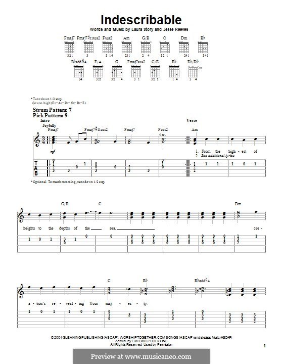 Indescribable (Avalon): For guitar with tab by Jesse Reeves, Laura Story