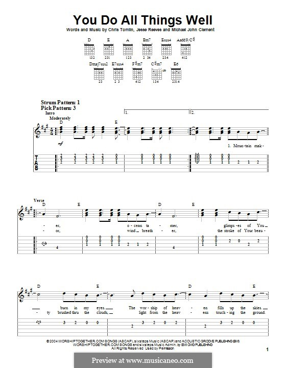 You Do All Things Well: For guitar with tab by Chris Tomlin, Jesse Reeves, Michael John CLement