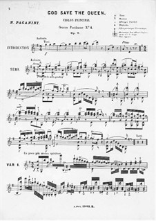 God Save the Queen for Violin and Piano, Op.9: Solo part by Niccolò Paganini