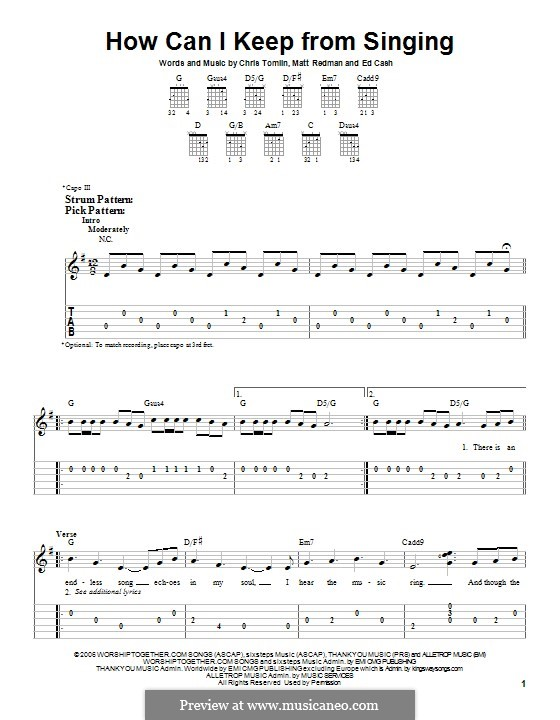 How Can I Keep from Singing: For guitar with tab by Chris Tomlin, Ed Cash, Matt Redman