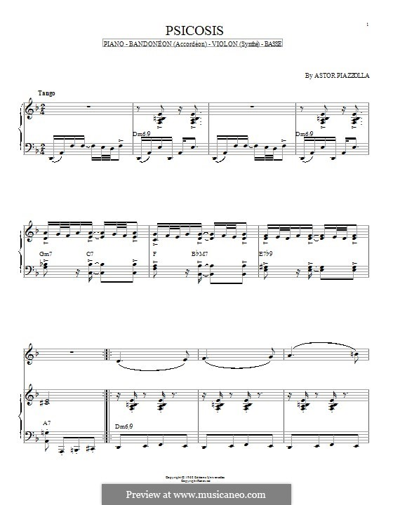 Psicosis: For piano by Astor Piazzolla