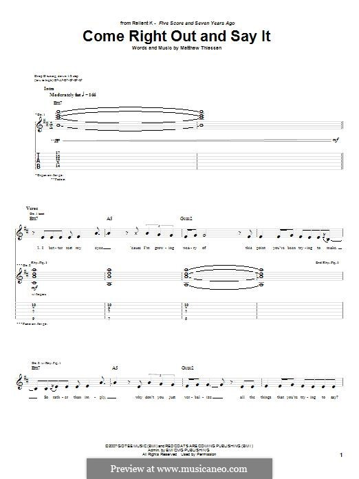 Come Right Out and Say It (Relient K): For guitar with tab by Matt Thiessen