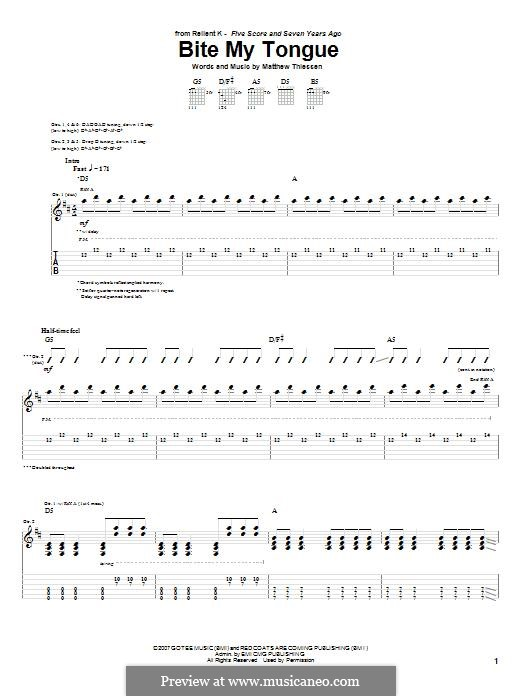Bite My Tongue (Relient K): For guitar with tab by Matt Thiessen