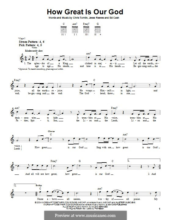 How Great Is Our God: For guitar with tab by Chris Tomlin, Ed Cash, Jesse Reeves