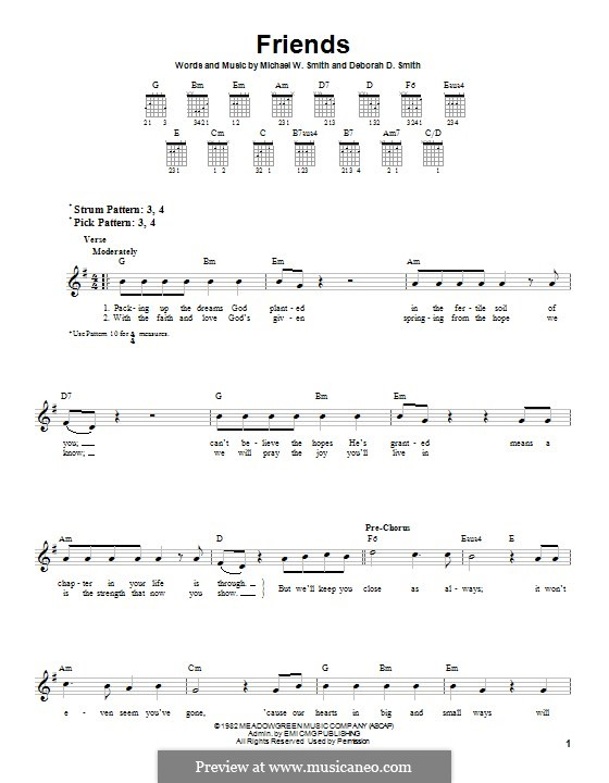 Friends: For guitar with tab by Michael W. Smith, Deborah D. Smith