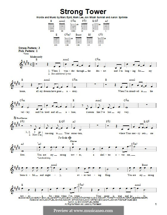 Strong Tower (Kutless): For guitar with tab by Marc Byrd, Mark Lee, Jon Micah Sumrall, Aaron Sprinkle