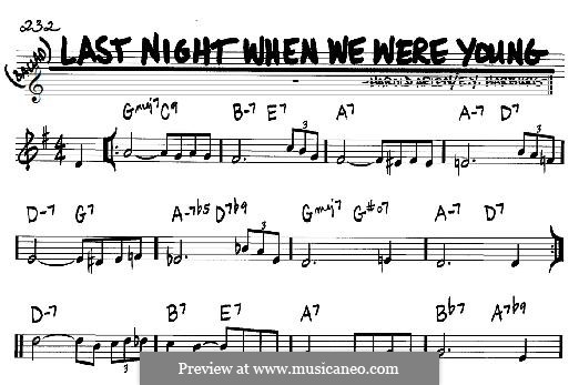 Last Night When We Were Young (Frank Sinatra): For any instrument by Harold Arlen