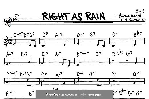 Right as Rain: For any instrument by Harold Arlen