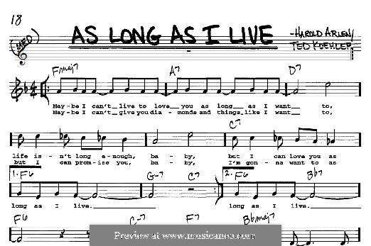 As Long as I Live: For any instrument by Harold Arlen