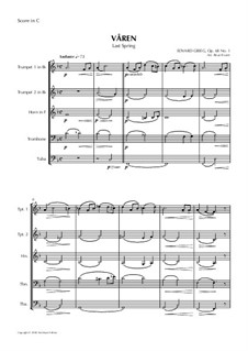 Two Elegiac Melodies, Op.34: No.2 Våren, for Wind Quintet by Edvard Grieg