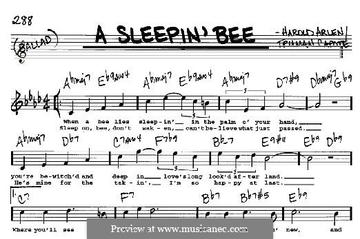 A Sleepin' Bee: For any instrument by Harold Arlen