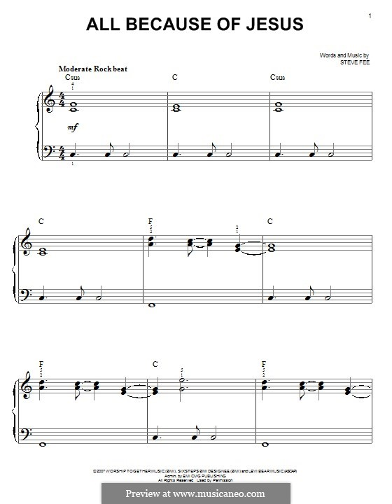 All Because of Jesus (Casting Crowns): For piano by Steve Fee