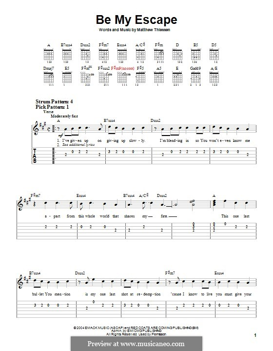 Be My Escape (Relient K): For guitar with tab by Matt Thiessen