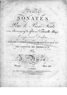 Three Sonatas for Piano, Flute and Cello: Piano part by Johann Andreas Amon