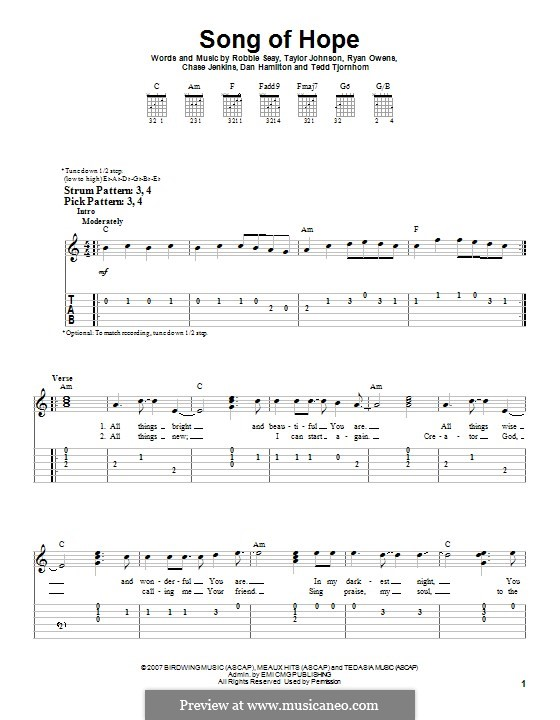 Song of Hope (Robbie Seay Band): For guitar with tab by Tedd Tjornhom, Taylor Johnson, Robbie Seay, Dan Hamilton, Ryan Owens, Chase Jenkins