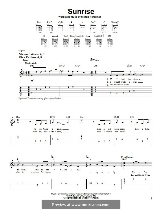 Sunrise: For guitar with tab by Nichole Nordeman