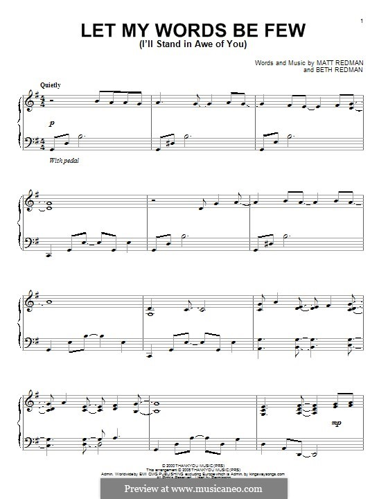 Let My Words Be Few (I'll Stand in Awe of You): For piano by Matt Redman, Beth Redman