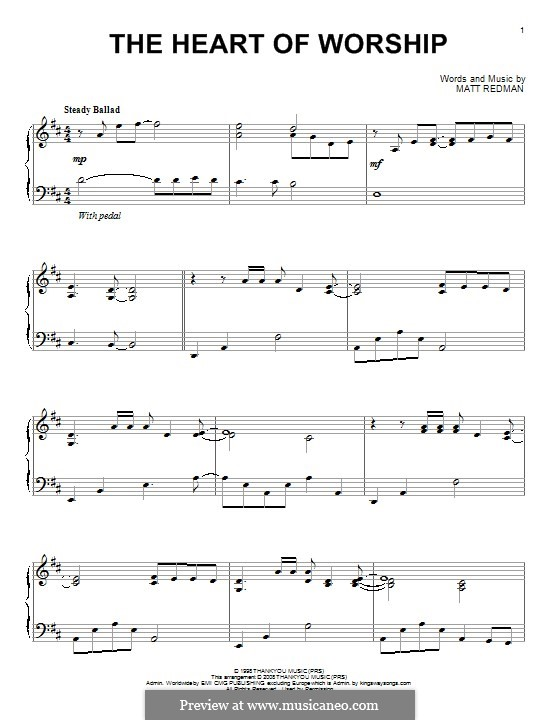 The Heart of Worship: For piano by Matt Redman