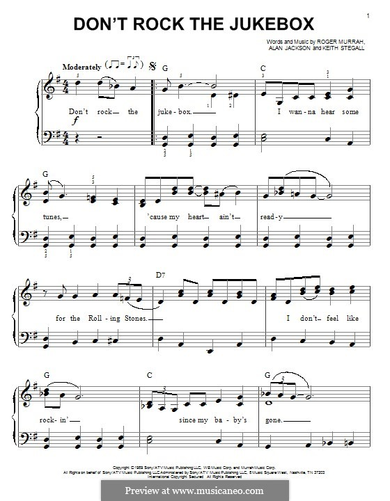 Don't Rock the Jukebox: For piano by Alan Jackson, Keith Stegall, Roger Murrah