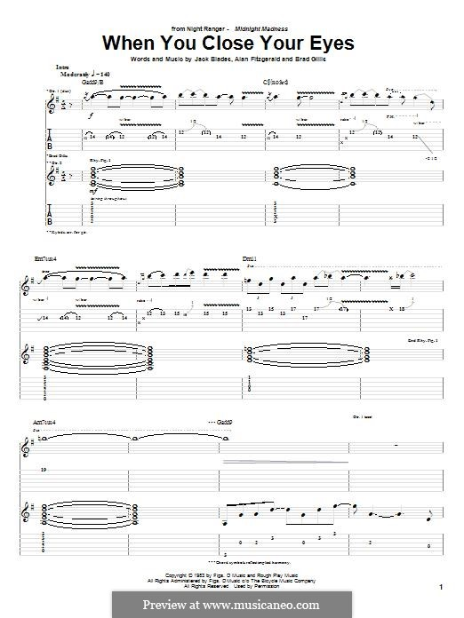 When You Close Your Eyes (Night Ranger): For guitar with tab by Jack Blades, Brad Gillis, Alan Fitzgerald
