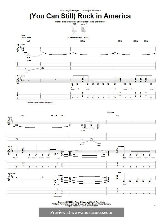 (You Can Still) Rock in America (Night Ranger): For guitar with tab by Jack Blades, Brad Gillis