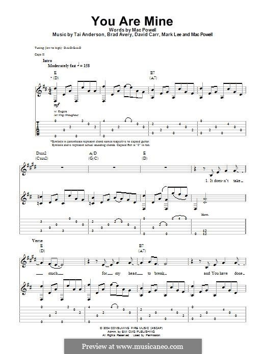You are Mine (Third Day): For guitar with tab by Brad Avery, Tai Anderson, David Carr, Mac Powell, Mark Lee