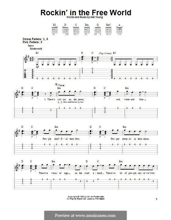 Rockin' in the Free World: For guitar with tab by Neil Young