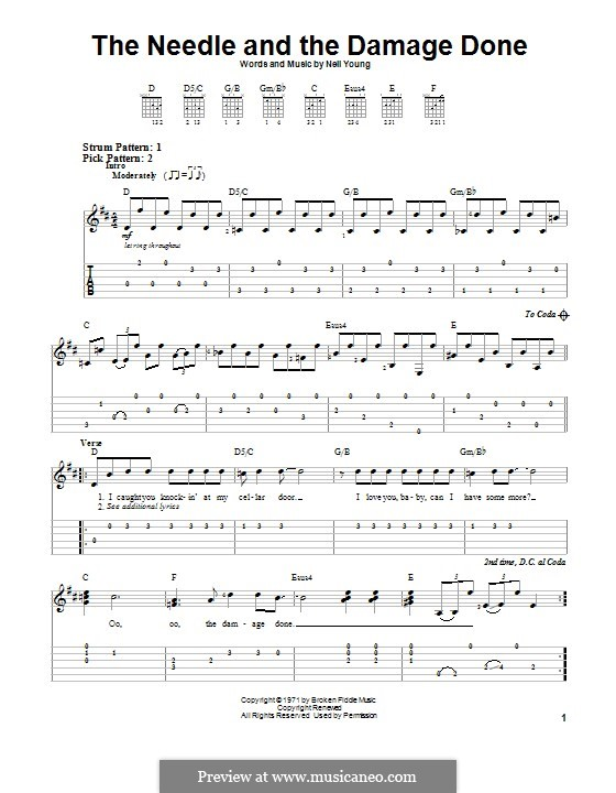 The Needle and The Damage Done: For guitar with tab by Neil Young