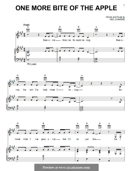 One More Bite of the Apple: For voice and piano (or guitar) by Neil Diamond