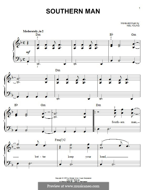 Southern Man: For piano by Neil Young