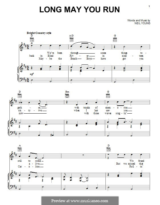 Long May You Run: For voice and piano (or guitar) by Neil Young