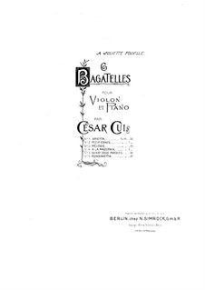 Six Bagatelles for Violin and Piano, Op.51: No.4 A la Mazurka – part by César Cui