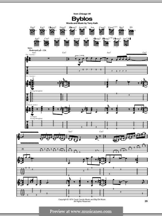Byblos (Chicago): For guitar with tab by Terry Kath