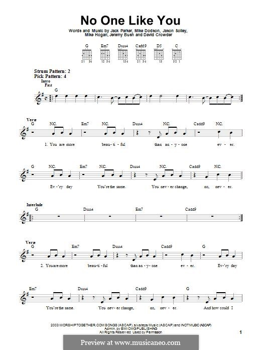 No One Like You (David Crowder Band): For guitar with tab by David Crowder, Jack Parker, Jason Solley, Jeremy Bush, Mike Dodson, Mike Hogan