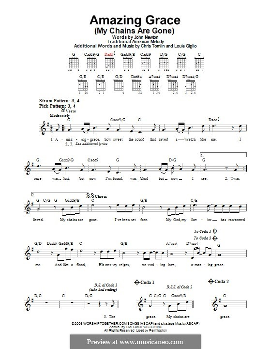 Amazing Grace (My Chains Are Gone): For guitar with tab by Chris Tomlin, Louie Giglio