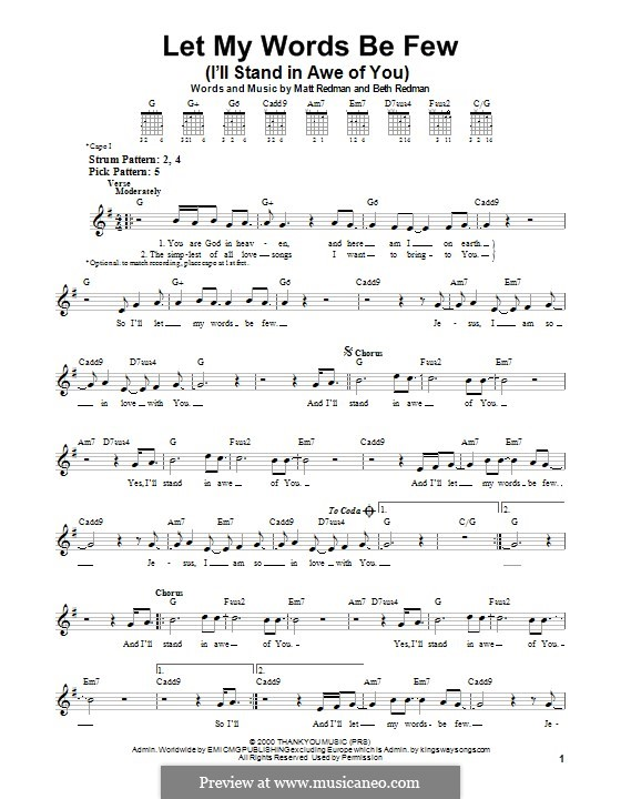 Let My Words Be Few (I'll Stand in Awe of You): For guitar with tab by Matt Redman, Beth Redman