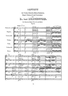 Septet for Winds and Strings, Op.20: Full score by Ludwig van Beethoven