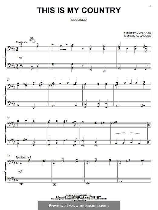 This Is My Country (Tennessee Ernie Ford): For piano by Al Jacobs