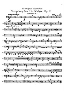 Symphony No.2, Op.36: Timpani part by Ludwig van Beethoven