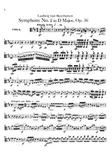 Symphony No.2, Op.36: Violas part by Ludwig van Beethoven