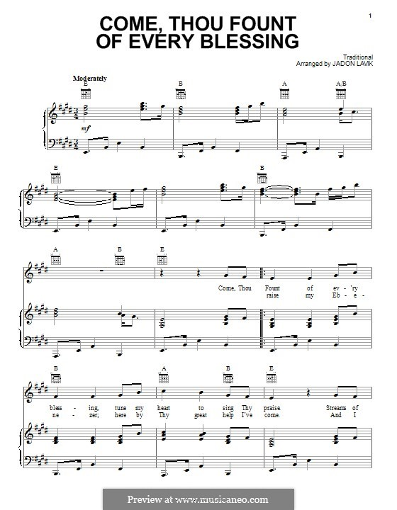 Come Thou Fount of Every Blessing: For voice and piano (or guitar) by folklore
