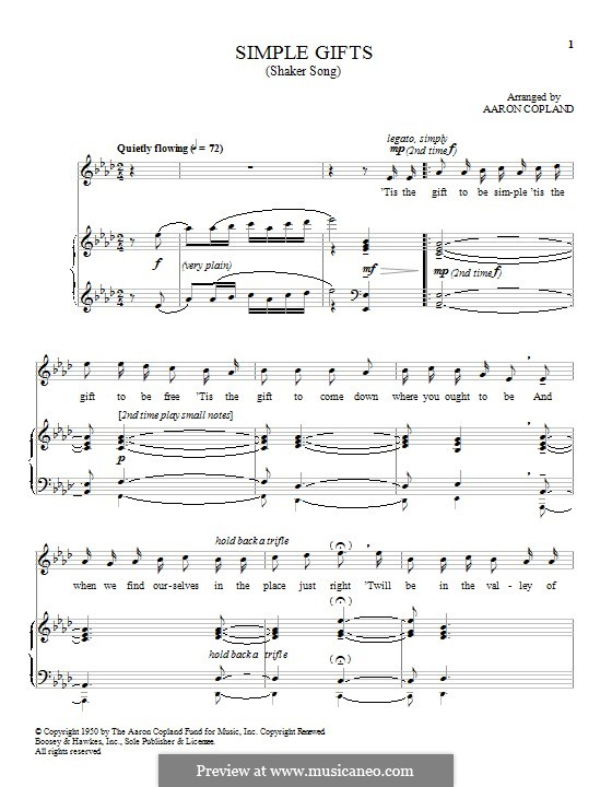 Simple Gifts: For voice and piano by folklore