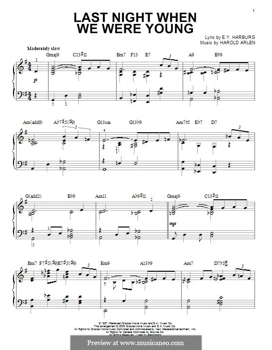 Last Night When We Were Young (Frank Sinatra): For piano by Harold Arlen